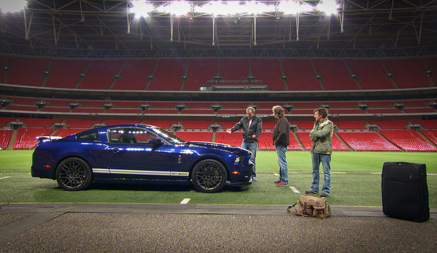 Top Gear - 10/02/2013 - Episode 3: Jeremy Clarkson, James May and Richard Hammond at Wembley Stadium next to a Ford Mustang GT600