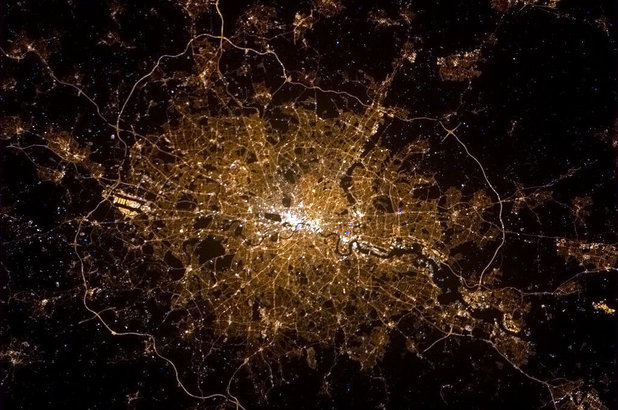 London at nighttime from space
