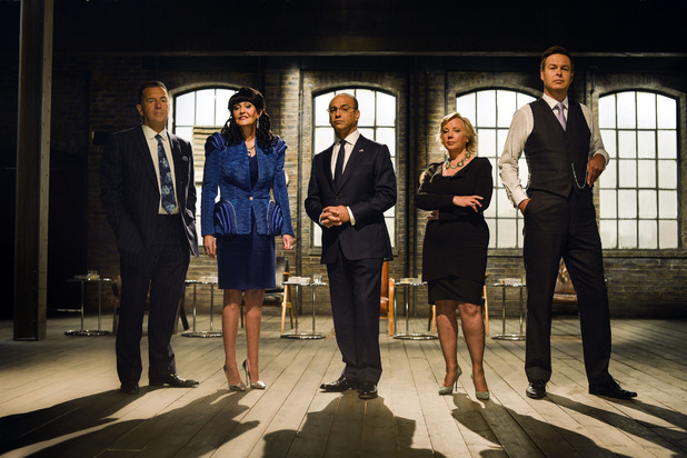 Dragons&#39; Den cast for series 9 and 10: Duncan Bannatyne, Hilary Devey, Theo Paphitis, Deborah Meaden, Peter Jones