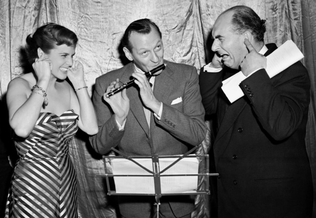 The 'Much Binding in the Marsh' radio comic team, left to right; Patricia Hughes, Richard Murdoch, and Kenneth Horne, at the Winter Garden Theatre, London.