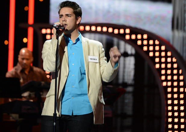Lazaro Arbos performs during the boys solo round of Hollywood week on 'American Idol'