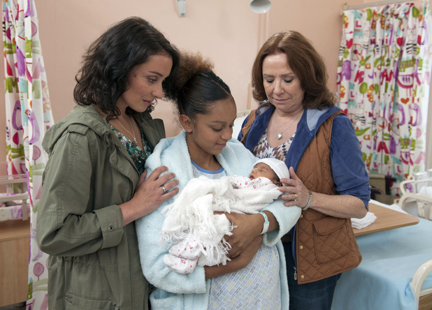 Jade Fleming with her baby in Waterloo Road