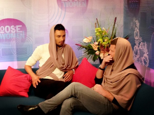 Rylan Clark and Dermot O'Leary wear headscarves in the green room for Loose Women