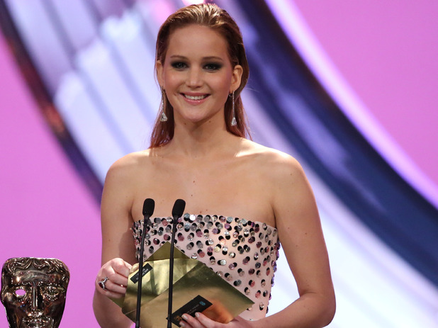 BAFTA Ceremony: Jennifer Lawrence presents an award.