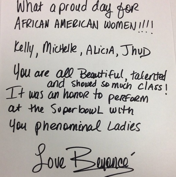 Beyoncé writes letter for Destiny's Child, Alicia Keys and Jennifer Hudson after Super Bowl performance
