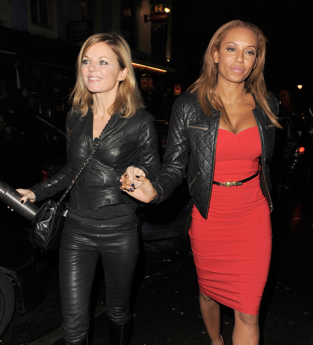 Geri Halliwell and Melanie Brown arriving at Soho House Featuring: Geri Halliwell,Melanie Brown Where: London, United Kingdom When: 07 Feb 2013