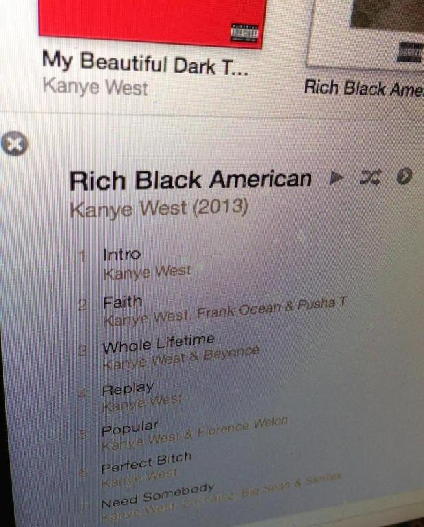 Kanye West 'Rich Black American' alleged tracklist.