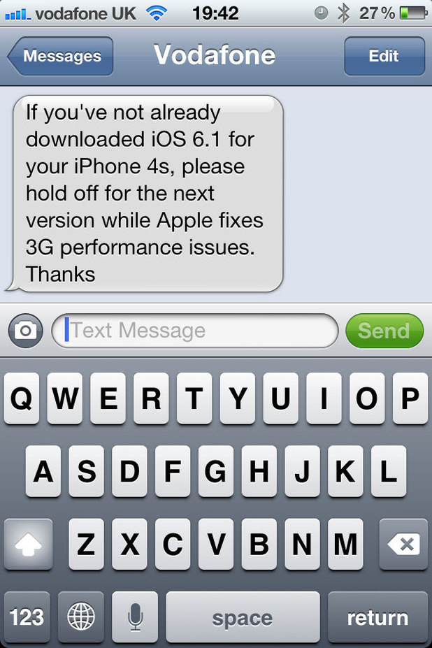 Vodaphone text warning users not to download iOS 6.1