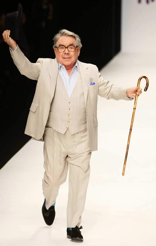 British comic actor Ronnie Corbett at Naomi Campbell's Fashion for Relief -Haiti show in London