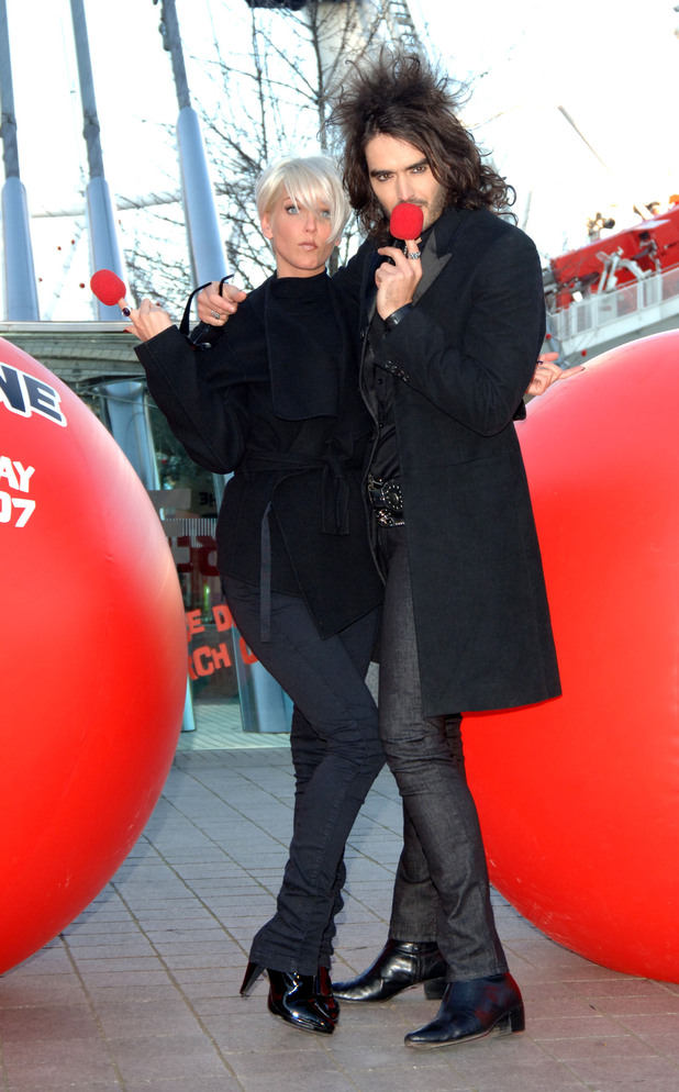 Sarah Harding and Russell Brand during a photocall to launch Red Nose Day 2007 at the London Eye in central London.