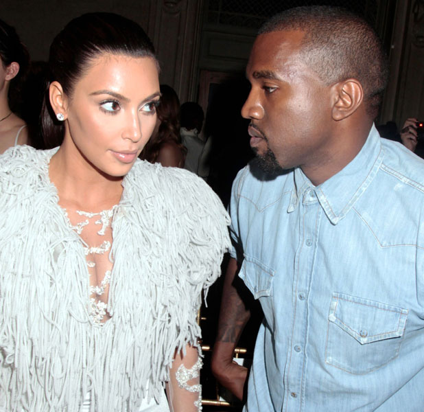 Kim Kardashian and Kanye West at the Marchesa show in 2012