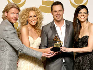Phillip Sweet, Kimberly Schlapman, Jimi Westbrook and Karen Fairchild, of musical group Little Big Town, pose backstage with the best country duo/group performance award for &#39;Pontoon&#39; at the 55th Annual Grammy Awards
