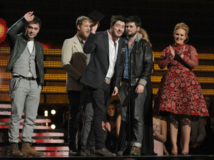 Mumford & Sons with Adele at the 2013 Grammy Awards
