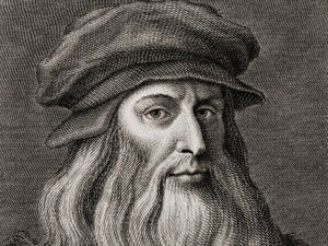 Leonardo da Vinci (1452-1519), Italian Renaissance painter from Florence. Engraving by Cosomo Colombini (d. 1812) after a Leonardo self portrait. Ca. 1500