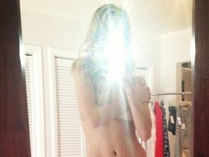 Rosie Huntington-Whiteley goes topless on Instagram.