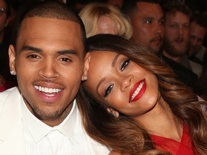 Rihanna and Chris Brown at the 55th annual Grammy Awards