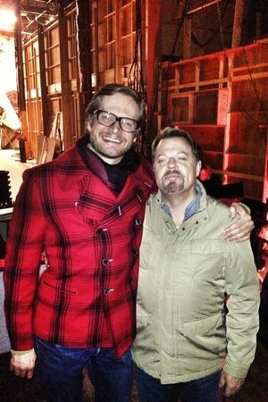 Bryan Fuller and Eddie Izzard on the set of NBC drama 'Hannibal'