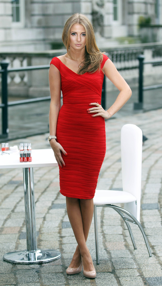 Millie Mackintosh, supporting Vodafone at Somerset House for London Fashion Week. As part of Fashion Week Nails Inc. have created a nail varnish in Vodafone's brand shade of red: Pantone 485.