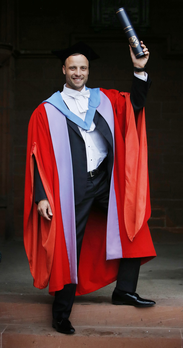 Oscar Pistorius, receives an honorary degree from the University of Strathclyde, at the Barony Hall in Glasgow, Scotland.