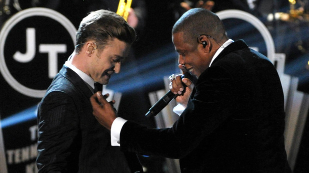 Justin Timberlake and Jay Z at the 2013 Grammy Awards