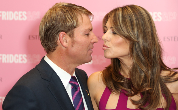 Elizabeth Hurley aka Liz Hurley and Shane Warne Estee Lauder's Breast Cancer awareness campaign held at Selfridges - 08.10.12