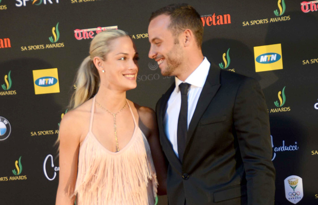Oscar Pistorius, Reeva Steenkamp arrive at the Sandton Convention Centre, Johannesburg, South Africa.