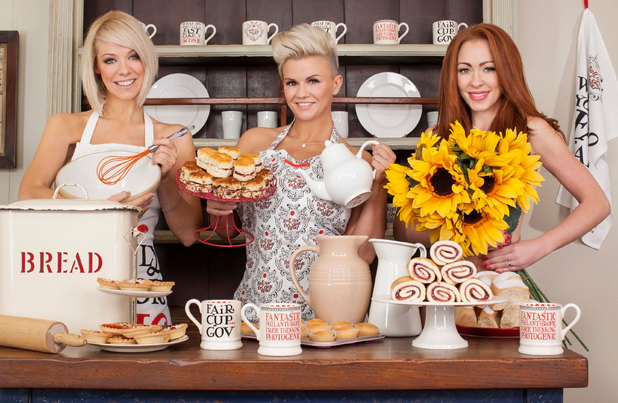 Liz McClarnon, Kerry Katona and Natasha Hamilton of Atomic Kitten in a Red Nose Day Tea Party photoshoot