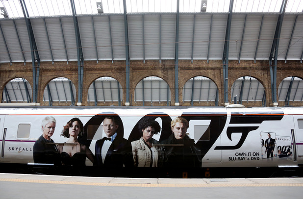 The Skyfall train rests at Kings Cross station.