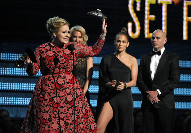 Grammy Awards 2013: Adele accepts a Grammy for 'Set Fire to the Rain'