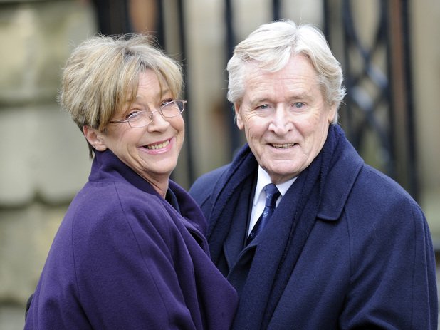 Anne Kirkbride and Bill Roache on set