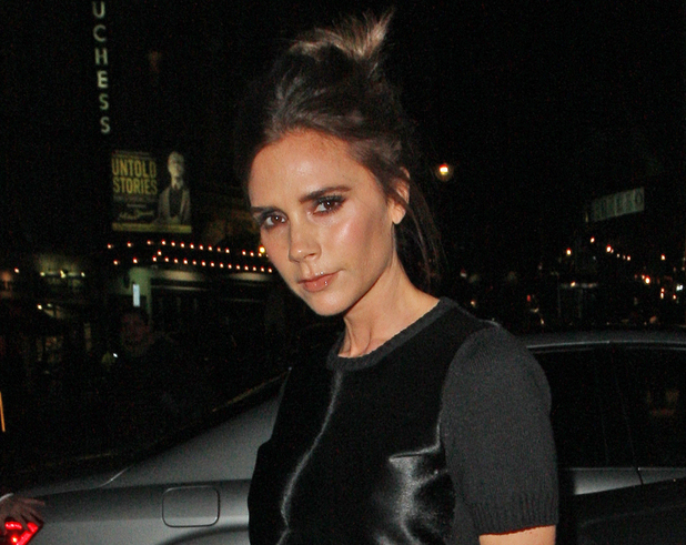 Victoria Beckham arrives back at her hotel in London.