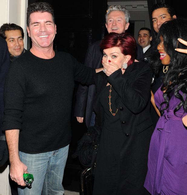 Simon Cowell, Louis Walsh and Sharon Osbourne enjoy a night out together at The Arts Club.