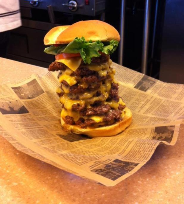 Nine-patty burger from Jake's Wayback Burgers
