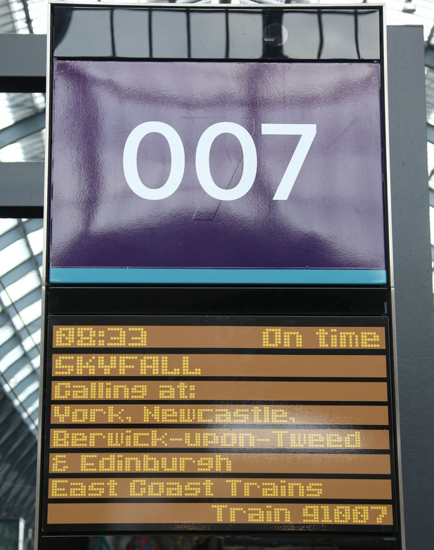 The Skyfall train is announced at Kings Cross Station.