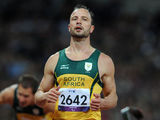 Oscar Pistorius, London Paralympics Oscar Pistorius looks dejected after finishing 2nd in the Mens 200m - T44 Final at the Olympic Stadium, London.