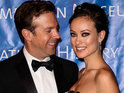 "The actress beams that she is ""so happy"" with fiancé Jason Sudeikis."