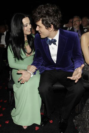 Katy Perry and John Mayer are seen in the audience at the 55th Annual Grammy Awards on February 10, 2013 in Los Angeles, California. CBS/Francis Specker /Landov Image #: 21163539
