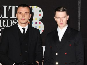 Hurts arriving for the 2013 Brit Awards at the O2 Arena, London