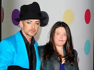 Boy George arriving for the 2013 Brit Awards at the O2 Arena, London