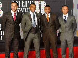 JLS arriving for the 2013 Brit Awards at the O2 Arena, London