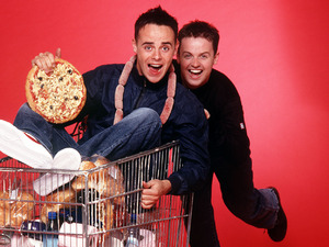 Ant & Dec pose for photos to promote their show 'Ant & Dec's Saturday Night Takeaway' for ITV in 2002