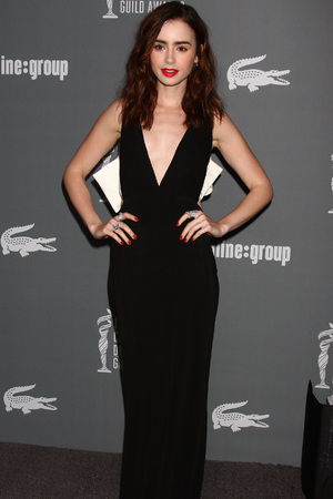 Lily Collins, 15th Annual Costume Designers Guild Awards at the Beverly HIlton Hotel