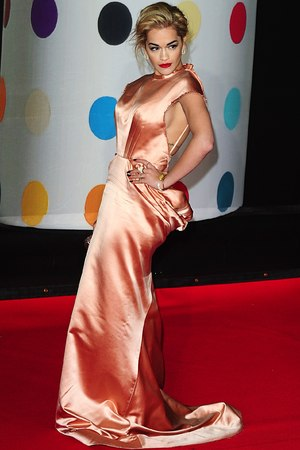Rita Ora arriving for the 2013 Brit Awards at the O2 Arena, London