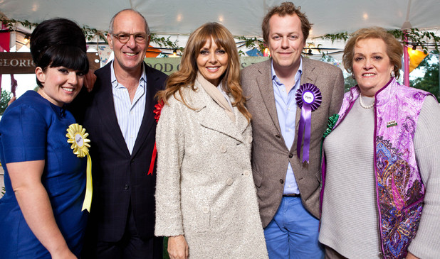 'Food Glorious Food' - Judges Stacie Stewart, Loyd Grossman, Tom Parker Bowles and Anne Harrison with presenter Carol Vorderman