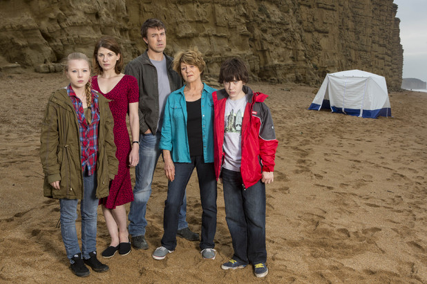 ITV's 'Broadchurch': Charlotte Beaumount, Jodie Whittaker, Andrew Buchan, Susan Brown and Oskar McNamara