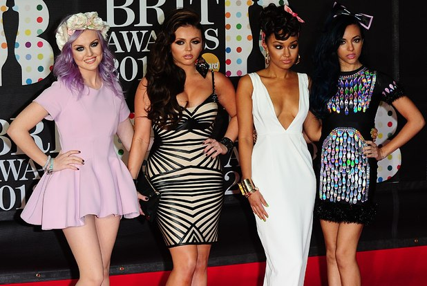 Little Mix arriving for the 2013 Brit Awards at the O2 Arena, London