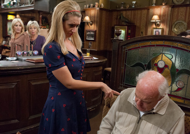 8070: Eva prepares to let Eric down gently but is horrified to find he has died in the Rovers