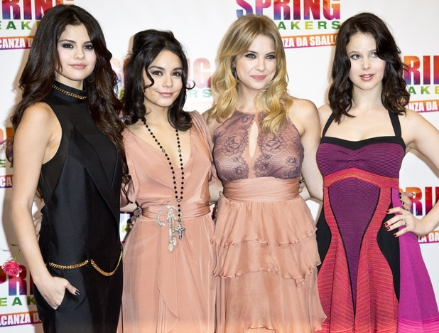 Selena Gomez, Vanessa Hudgens, Ashley Benson and Rachel Korine attend the Italian premiere of 'Spring Breakers'.
