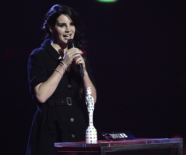 Lana Del Rey collects the award for Best International Female during the 2013 Brit Awards at the O2 Arena, London