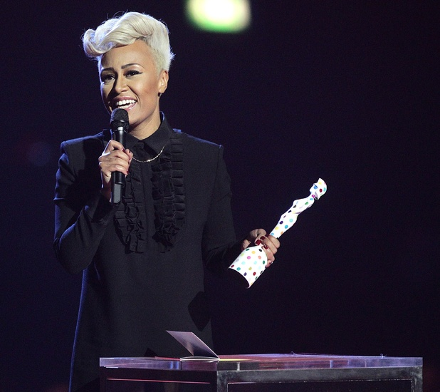 Emeli Sande collects the Best British Female award on stage during the 2013 Brit Awards at the O2 Arena, London